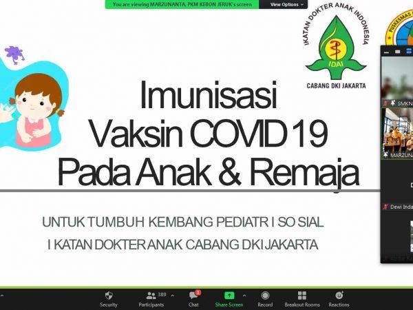Kegiatan Sosialisasi Vaksin Covid 19 kepada Wali murid kelas X, XI, XII SMKN 45 Jakarta oleh Kasatpel Puskesmas Kebon Jeruk